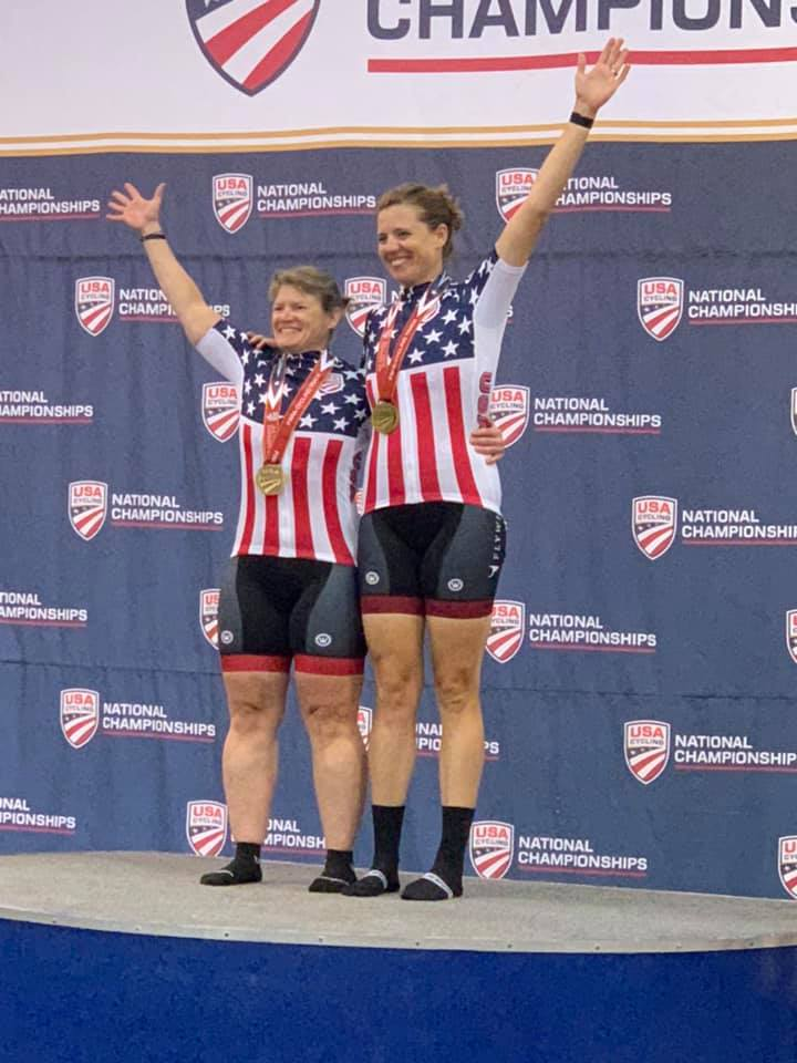 Standing atop the podium: ALP Coach Jennifer Sharp with ALP Athlete Wendy Werthaiser at the USA Para National Track Championships. Sharp and Werthaiser are competing this August at the ParaPan Am Games in Lima, Peru.