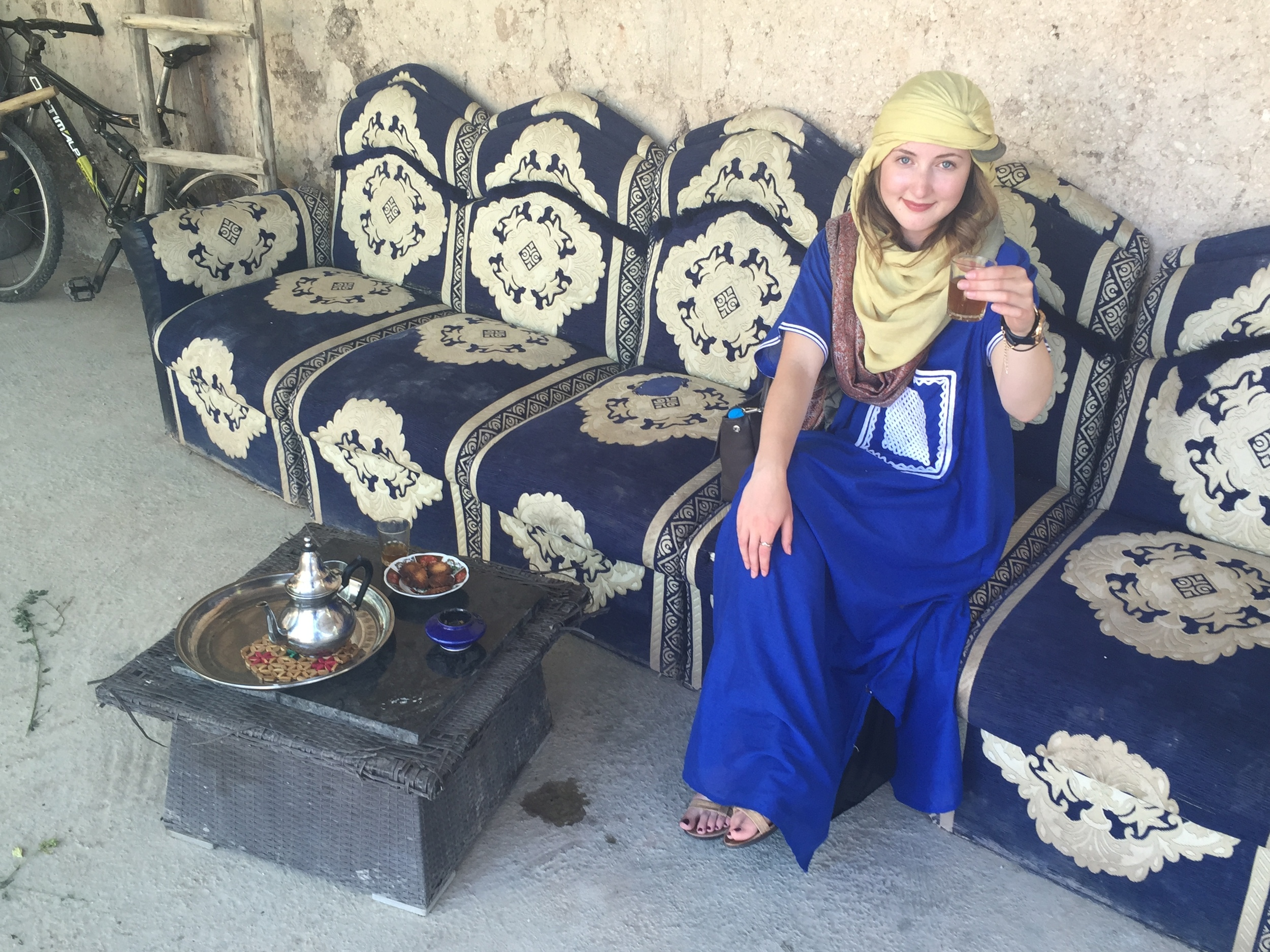 Cheers! I am drinking traditional Moroccan mint tea!