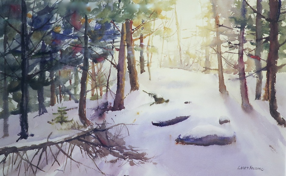 "Watercolor Second Place Larry Folding ""Winter Warmth"""
