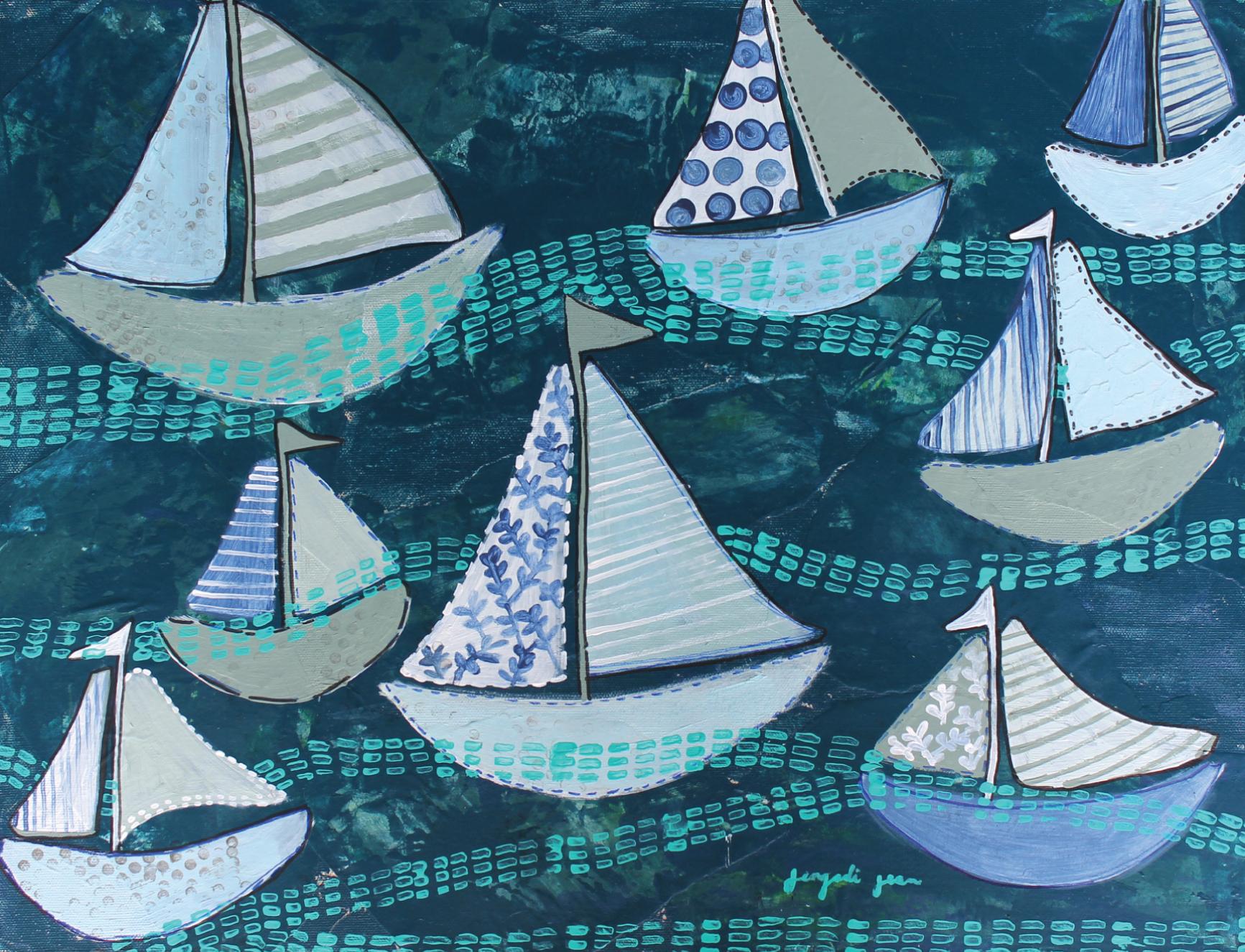 JenLavoine_MixedMediaPainting_Navy Sailboats_$350_Canvas_16x20-02.jpg