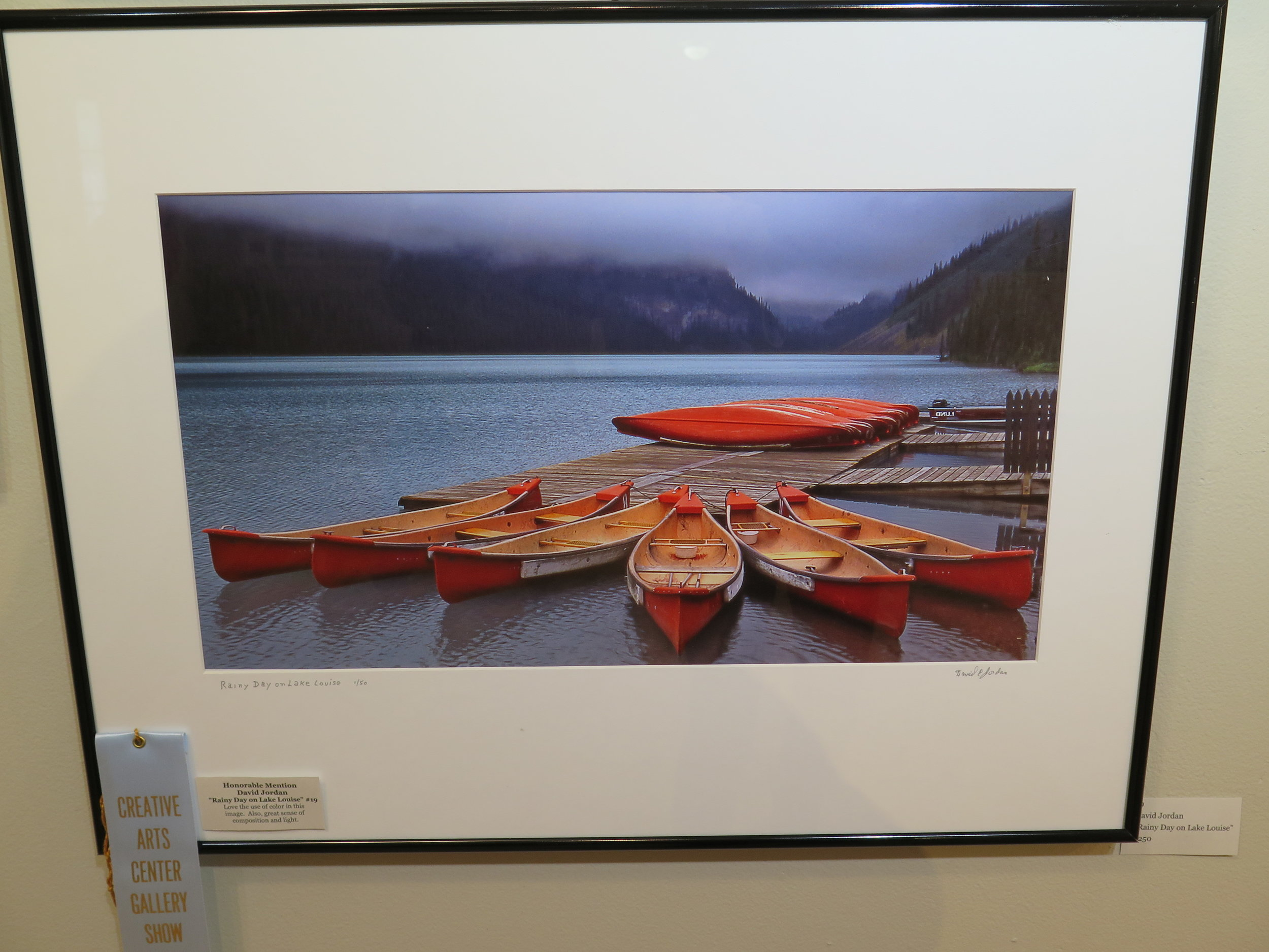 "Honorable Mention David Jordan ""Rainy Day on Lake Louise"""