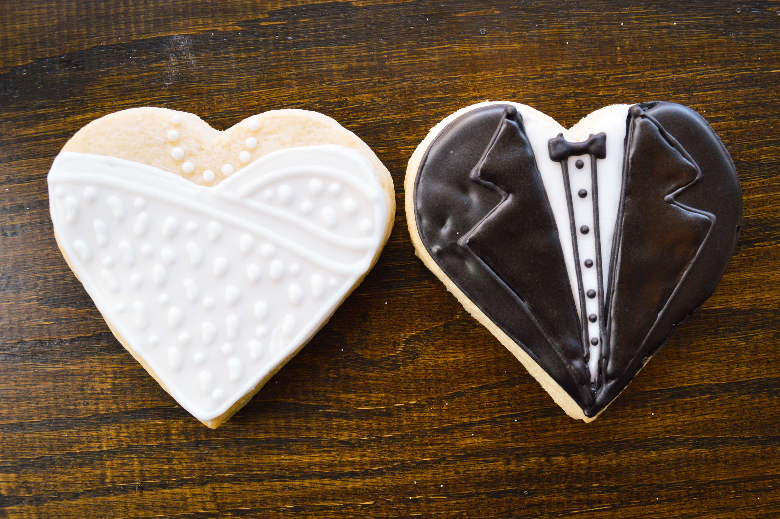 Wedding Dress and Tuxedo Sugar Cookies