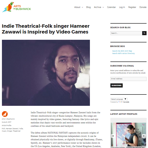 INDIE THEATRICAL-FOLK SINGER HAMEER ZAWAWI IS INSPIRED BY VIDEO GAMES (BROOKLYN) - INDIE Theatrical-Folk singer-songwriter Hameer Zawawi hails from the vibrant-multicultural city of Kuala Lumpur, Malaysia. His songs are mainly inspired by video games, featuring fantasy-like lyrics and epic melodies that depict vast worlds and environments seen within the confines of his small bedroom and backyard.
