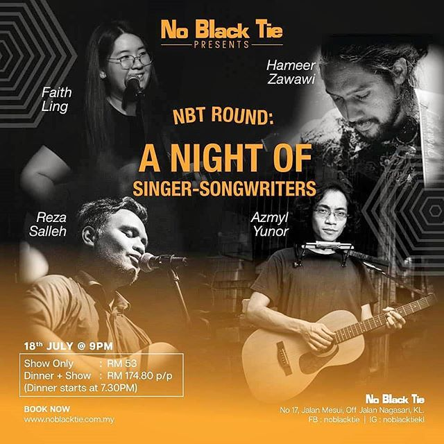 Tonight's 9:00PM surprise, I'll be playing another songwriters round, this time at #KualaLumpur's legendary @noblacktiekl alongside some legendary names. Drop everything #KL and come by. Show starts 9:00PM 🎉🎉🎉