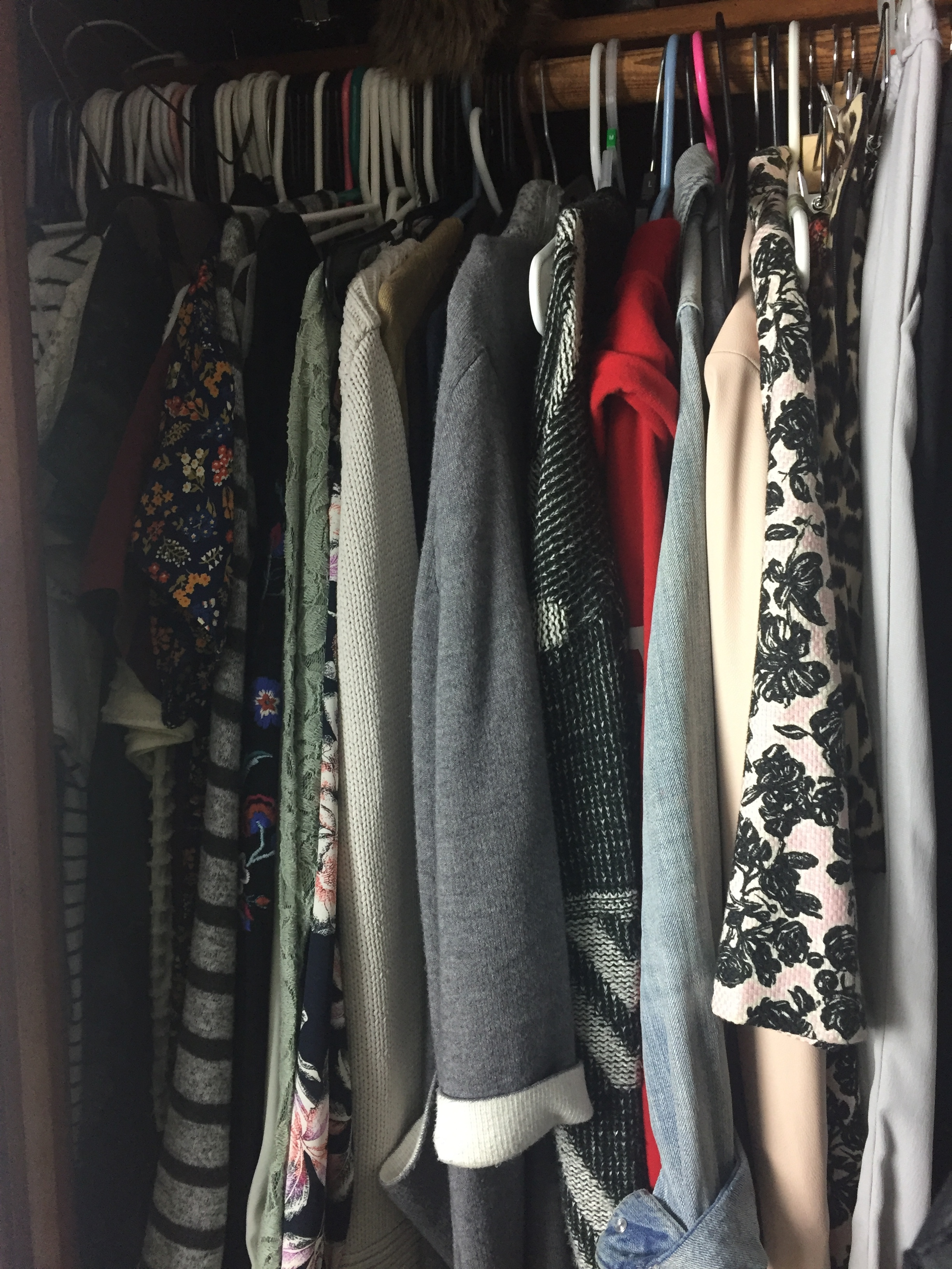 Clothes disappearing into the depths of the closet.