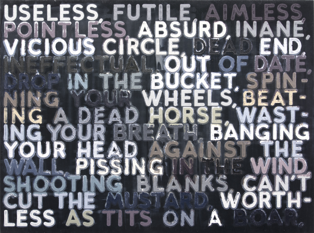 Mel Bochner, Useless, Oil on velvet, 2006