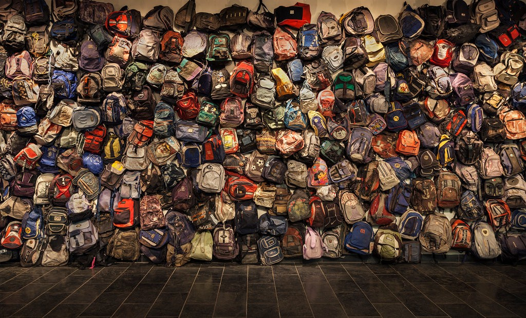Backpack Installation/State of Exception,  Richard Barnes, Amanda Krugliak, Jason De León. Photograph Richard Barnes.