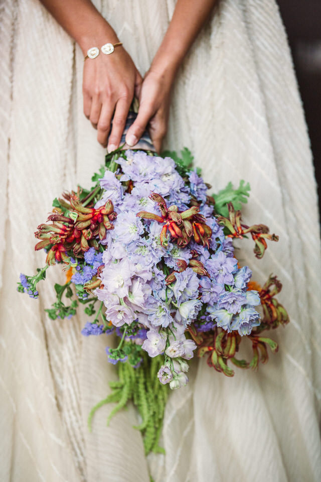 Rustic lavender wedding bouquet