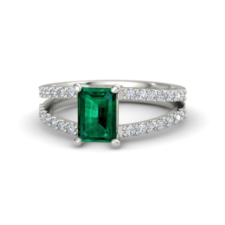 Emerald Cut Emerald and Diamond Ring by Gemvara