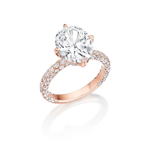 Rose Gold Pave Diamond Engagement Ring by Lindsey Scoggins,JCK