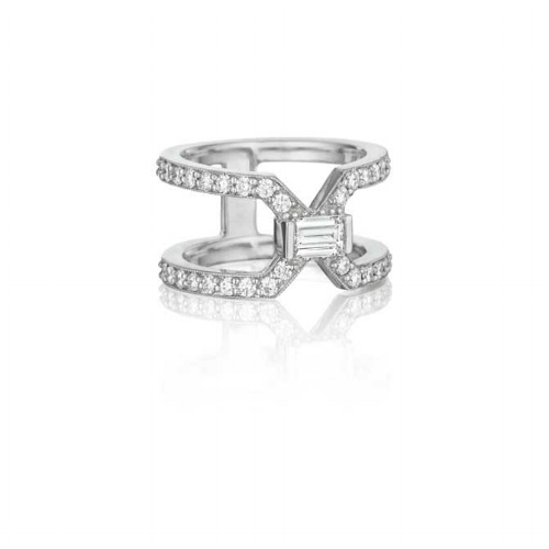 East-West engagement ring with split diamond band and emerald-cut center stone by Penny Preville, JCK