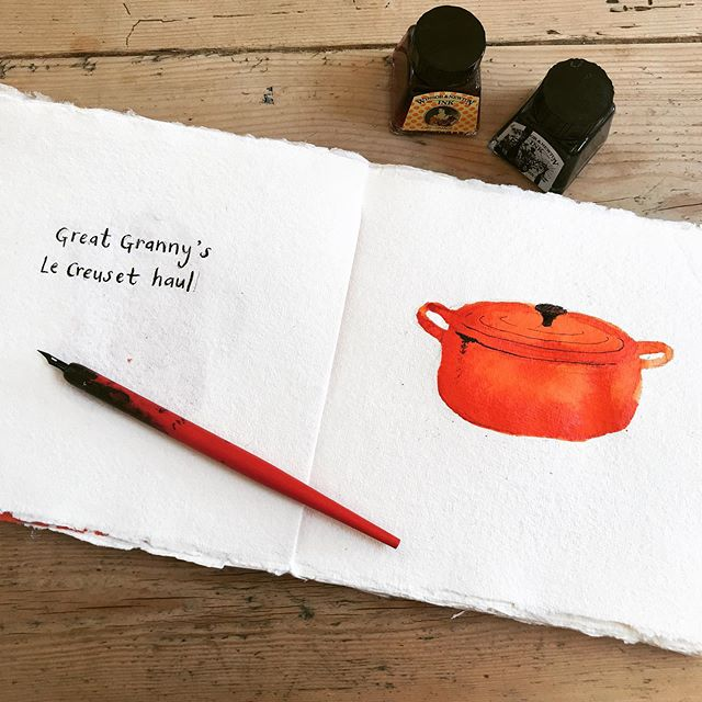 #inktober and day two of my little book of domestic treasures. My granny was the daughter of a French chef (who was due to cook on the Titanic but missed the boat because he had too much to drink celebrating his new job - phew!) My granny was a fabulous cook herself and family get togethers always revolved around her delicious home cooking. Many years ago she went on holiday to France and found a shop selling bargain Le Creuset casserole dishes, and she came home with a job lot - one orange ombré casserole dish for each member of the family. I've inherited a few of them so have this fabulous shelf of orange cookware and it's wonderful to think of all the delicious soups and stews made in them over the years. When I was younger I wasn't all that about the orange, but now I love it!  #inktober2019  #domestictreasure  #homecooking #orange #lecreuset #observationaldrawing #designclassics  #winsorandnewton  #winsorandnewtonink