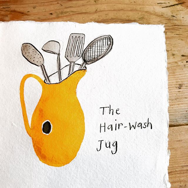 Little Book of Domestic Treasures for #inktober day 3.  When I was a very little girl, before we had a shower attachment, this enamel jug lived in the bathroom and was used for hair washing. Now, it takes pride of place on the kitchen worktop and is more jam packed with kitchen utensils than illustrated here. (I'm disguising slightly the extent of non-minimalist tendencies.) This jug is one of my favourite possessions. It's yellow glow brings such cheer. I've always wondered how the black non enamelled circle on the side occurred: an accident or aesthetic decision by the maker. #inktober2019  #inkdrawing #winsorandnewton  #winsorandnewtonink #observationaldrawing  #kitchenalia #domestictreasures #enamelwear