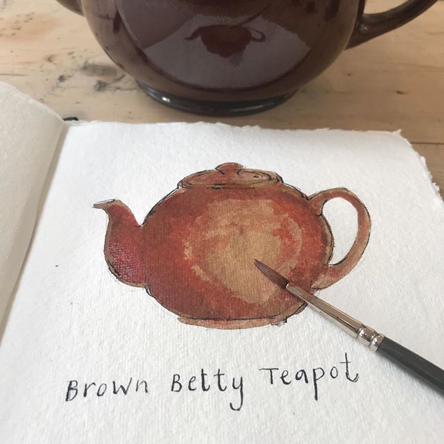 Domestic treasure for #inktober day 4 - the Brown Betty teapot! How many of you have or had one of these? They have become an emblem of British domestic life and appear, as well as other teapots, in many, many picture books, a beloved narrative code for comfort and familiarity.  Scroll right to see Judith Kerr's Brown Betty in The Tiger Who Came to Tea, and Janet Ahlberg's in Peepo, then a couple of my mum's paintings with the Brown Betty next to the red coffee pot from day one.  From Wikipedia: 'In the Victorian era, when tea was at the peak of its popularity, tea brewed in the Brown Betty was considered excellent. This was attributed to the design of the pot which allowed the tea leaves more freedom to swirl around as the water was poured into the pot, releasing more flavour with less bitterness.' #inktober2019 #inktoberday4 #inkdrawing #winsorandnewton #winsorandnewtonink #dippen #observationaldrawing #domestictreasure #kitchenalia #teapots #brownbetty #designclassic #judithkerr #thetigerwhocametotea #janetahlberg #allanahlberg #peepo #picturebooks #tea