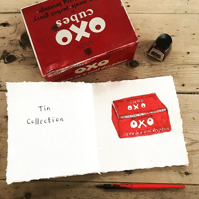Domestic Treasures for #inktober2019 day 8: 1940s Oxo tin. I picked this up when I was about 12 and in a tin collecting phase. I now use it to store some old letterpress stamps. I love the colours and shapes of vintage packaging and this common collectible is another joy spark to me.  Once again I'm turning to my heroes Janet Ahlberg and Raymond Briggs to show how these small domestic treasures are used in Children's picture books to create a language of warmth, familiarity and home. And also, capsules of domestic social history.  On my MA in Children's Book Illustration at Cambridge School of art I wrote my dissertation on the importance of domestic paraphernalia in the visual language of picture books, and during my research was fascinated to discover that the Peepo house was based on Allan Ahlberg's childhood home, turned by Janet into a 'sweeter, prettier version.' Raymond Briggs wrote Father Christmas in the 18 months following the death of both his parents, and FC's home is a tribute to theirs.  Objects link us to the past, and to family traditions. In her book Objects and Collections, a Cultural Study, Susan Pearce says 'objects hang before the eyes of the imagination, continuously representing ourselves to ourselves, and telling the stories of our lives in ways which would be impossible otherwise.' #inktober #inktober2019 #inktoberday8 #inkdrawing #penandink #winsorandnewton #winsorandnewtonink #childrensbooks #childrensbookillustration #illustration #childrenspicturebooks #picturebooks #domestictreasures #kitchenalia #designclassics #oxo #vintage #vintagetins #collectibles #raymondbriggs #raymondbriggsfatherchristmas #allanahlberg #janetahlberg #janetandallanahlberg #peepo #susanpearce #objectsandcollectionsaculturalstudy