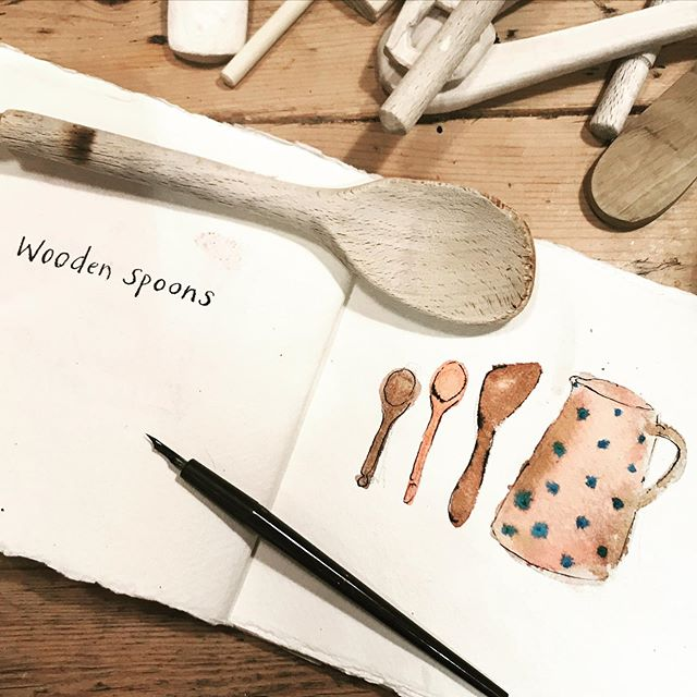 Busy with some exciting projects this week so behind on #domestictreasures for #inktober2019. This jug was one of the first domestic treasures I bought as a young adult - from Bisbal, a pottery producing town in northern Spain. We now keep our wooden spoons in it. The small one on the left was used to stir my porridge as a little girl!  #inktober #inktoberday11 #observationaldrawing #ink