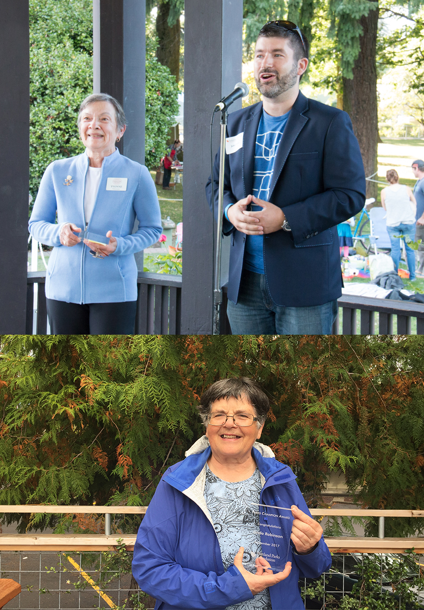 Above: Park Champion Award presented to Yvonne Boisvert for amazing efforts at Peninsula Park Rose Garden, from PPF Board Member, Jules Bailey. Below: Linda Robinson receives Park Champion Award for tireless work on behalf of parks in East Portland.