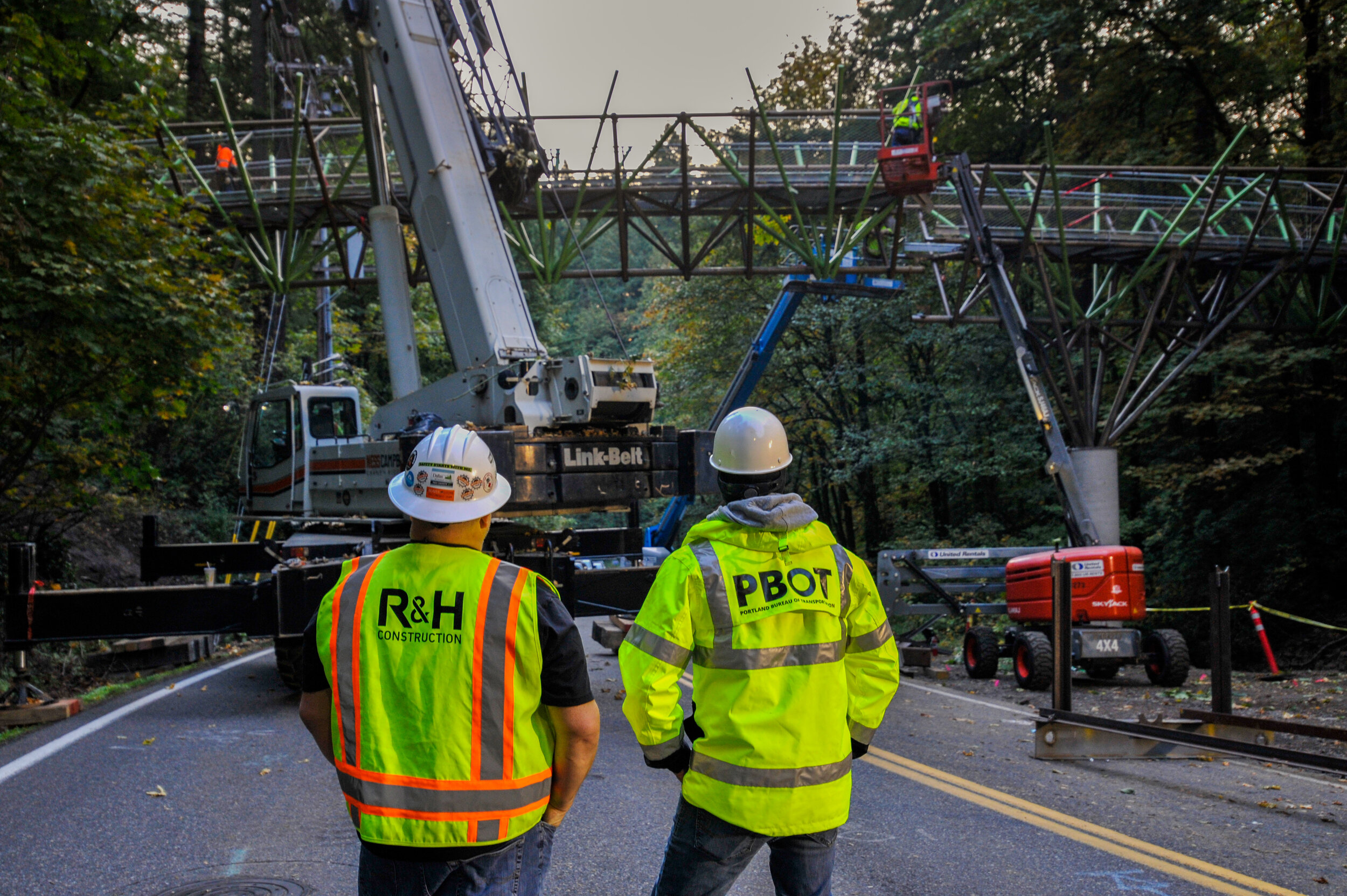 R&H Construction and PBOT watch as two pieces of the Barbara Walker Crossing are connected together on Saturday, October 12, 2019. Photo credit: Diego Diaz Photography