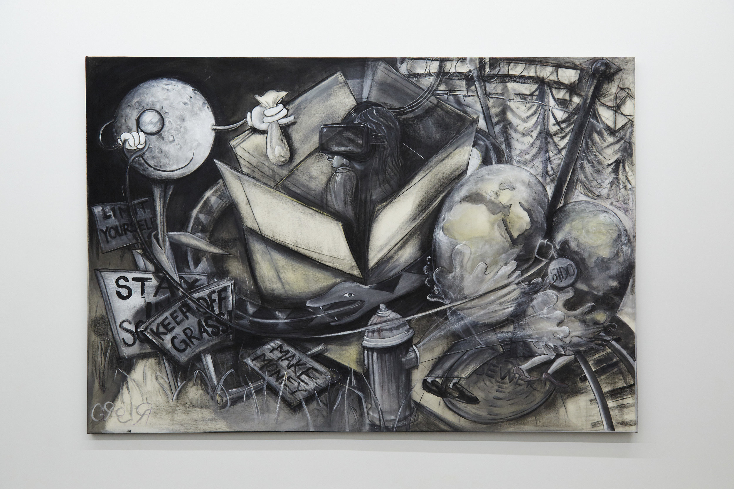 R.Lord,  The Central Scrutinizer , gesso and charcoal on canvas, 2016-2017