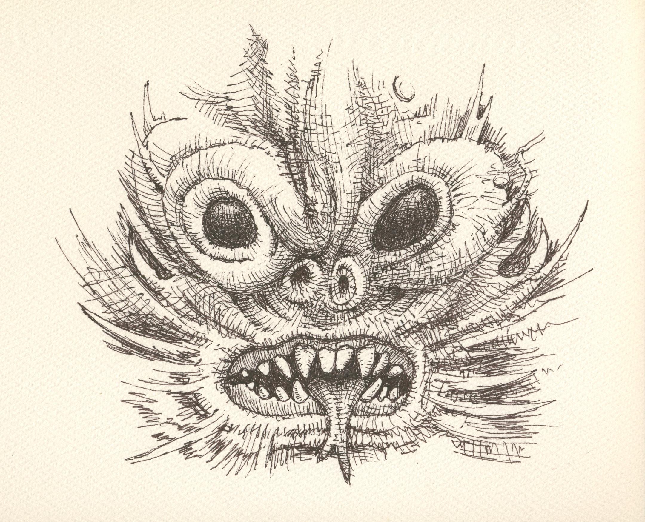 Alexandewr Ross, Monkey Demon, 2016, ink on watercolor paper