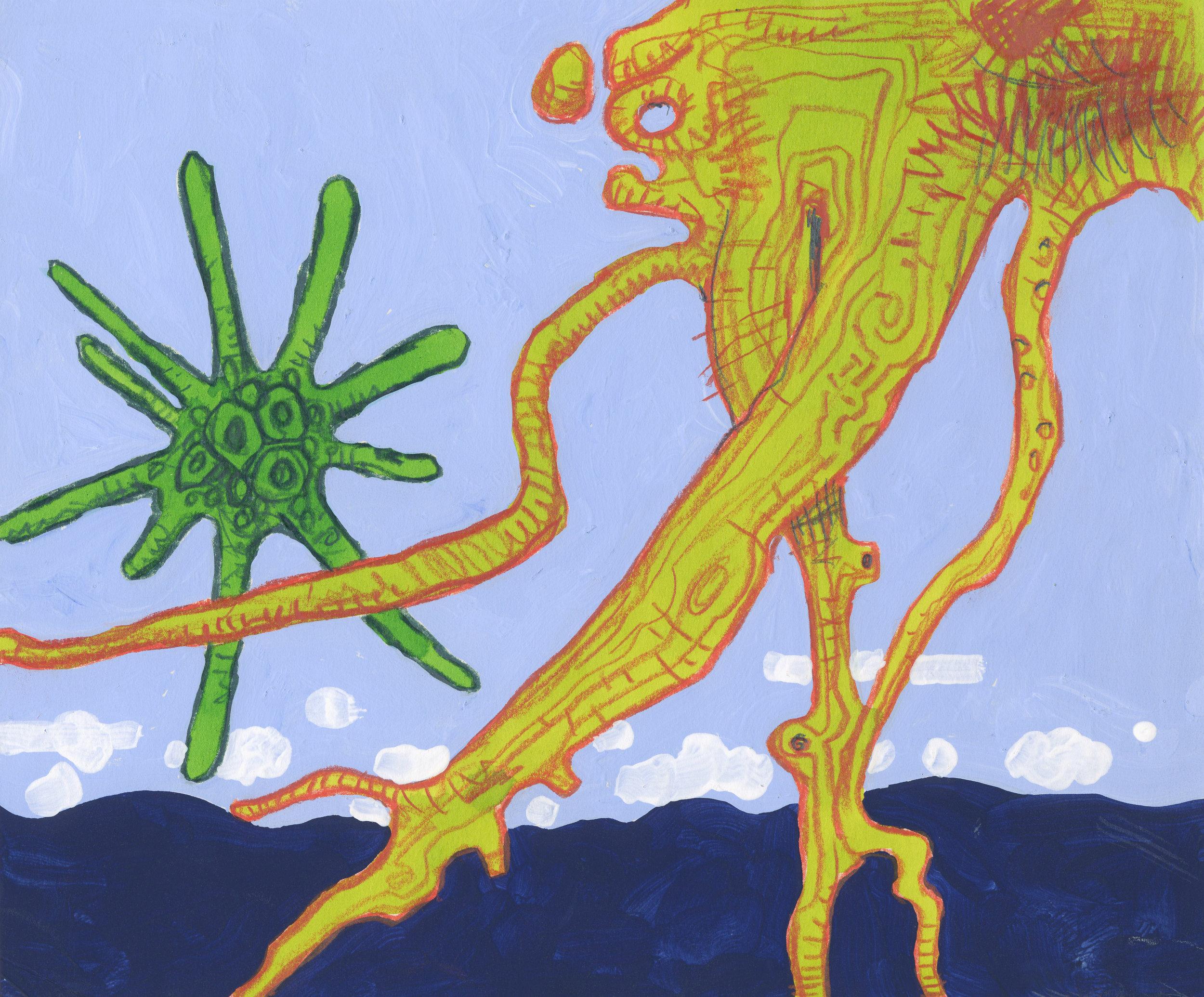 Alexandr Ross, Squinado, 2013, flashe, crayon, watercolor, 8 1/2 x 10 inches