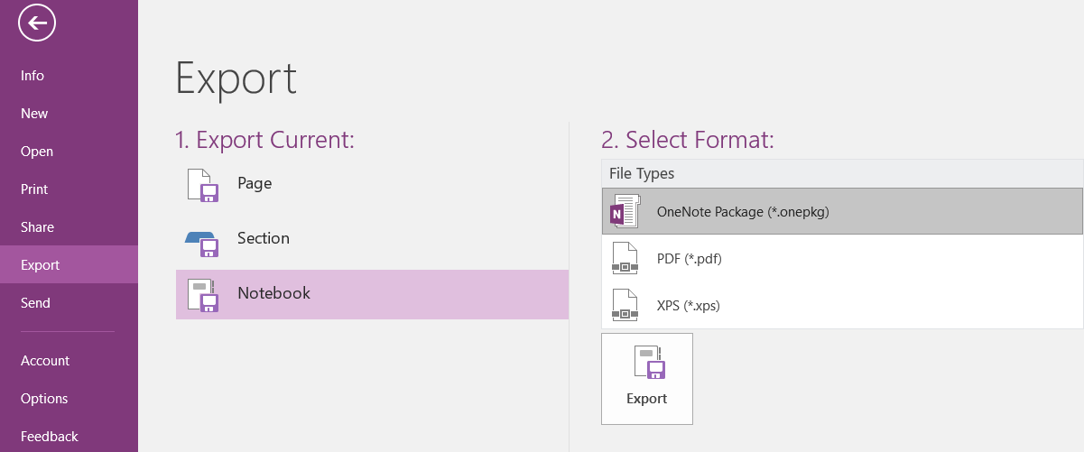 The OneNote Package option should be selected as shown on the right side of the screenshot.
