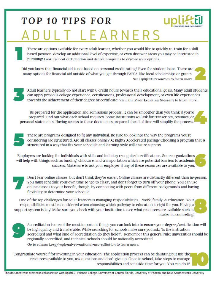 Click the image to download the Top 10 Tips for Adult Learners document