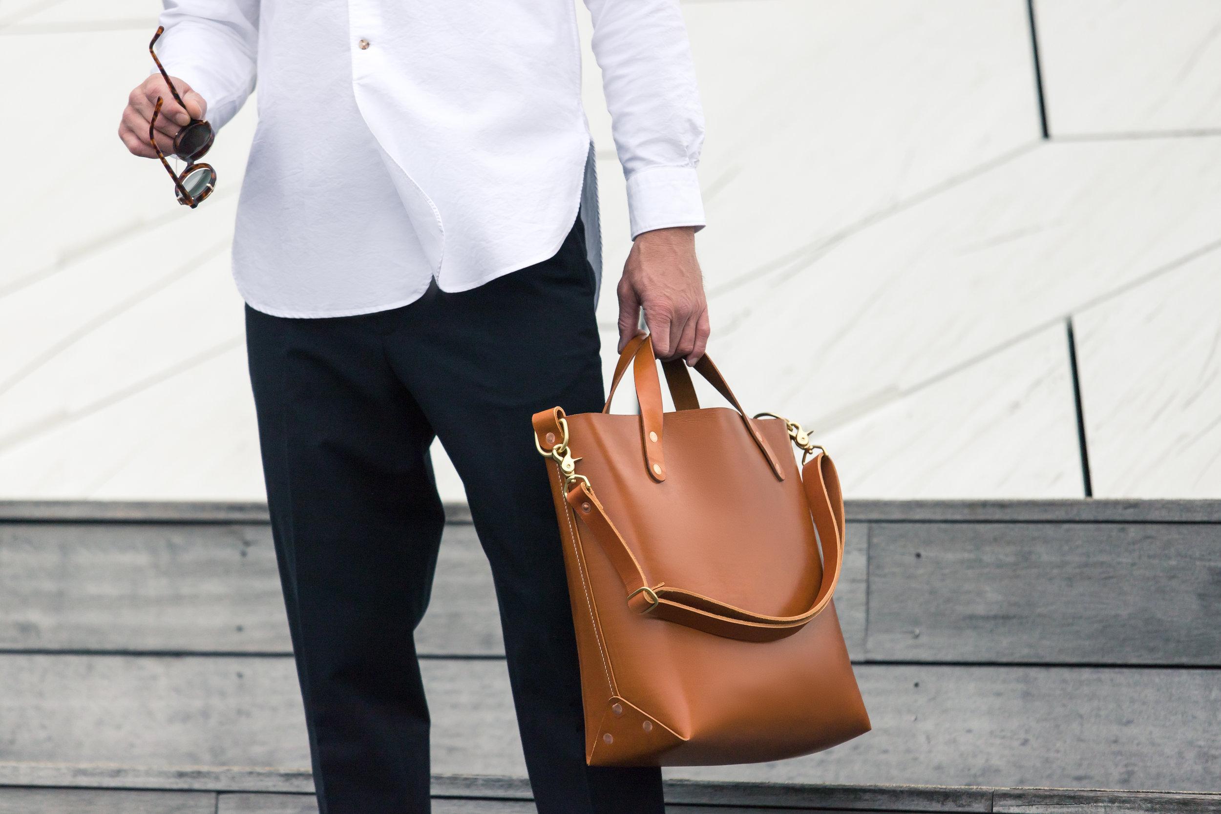 Bag: Dyemond Goods Leather bag // Shirt:  Bellerose Gowd 81  //Pants:  Bellerose Plano  //Specs:  Han Kjobenhavn Doc Clip on Amber