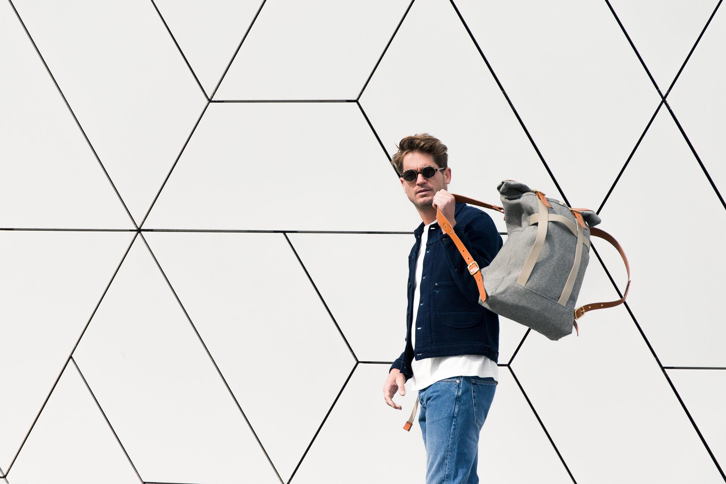 Bag:  Dyemond Goods Outland backpack // Belt: Dyemond Goods Woven belt //Jacket: BENZAK jacket (Launching FW18)// Top:  BENZAK BT-01 pocket tee //Jeans:  BENZAK B-01 slim Medium stone //Specs:  Han Kjobenhavn Doc Clip on Amber