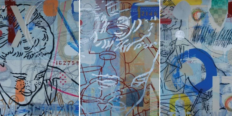 The Scholar, (detail), 2016, mixed media on paper, 23 x 23 in.  The Idealist, (detail), 2016, mixed media on paper, 23 x 23 in.  The Lover, (detail), 2016, mixed media on paper, 23 x 23 in. Photos courtesy of the artist