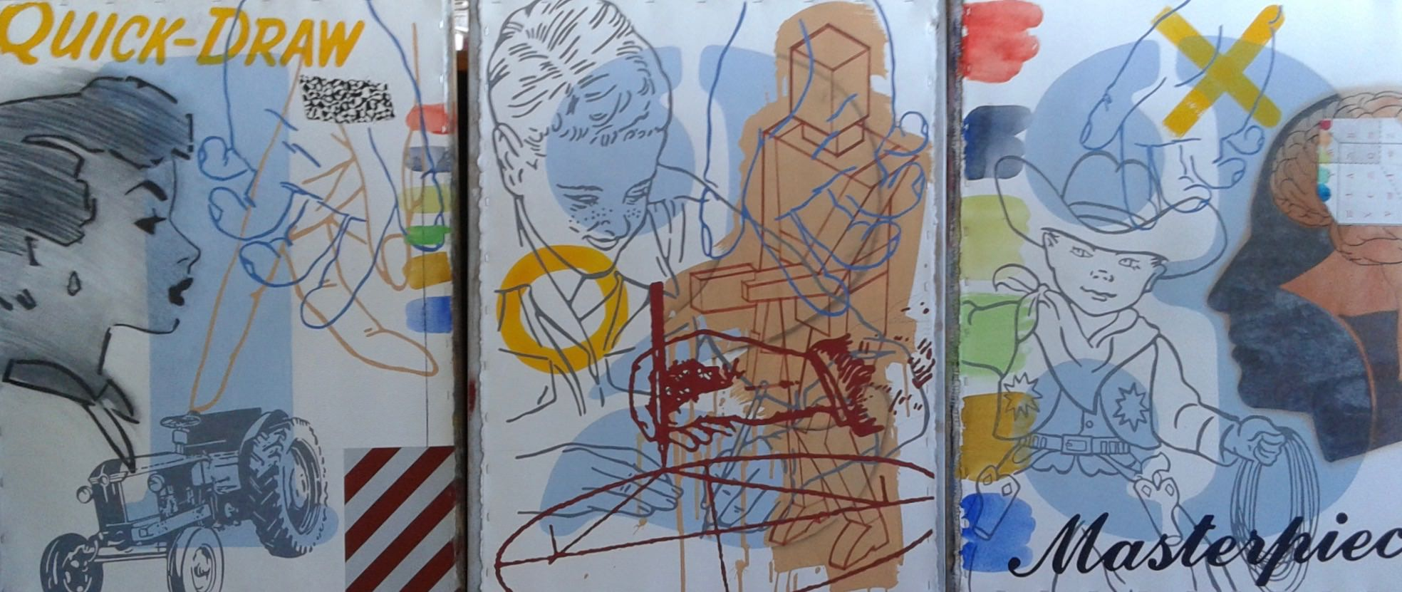 Three Thinking and Drawing Lessons , triptych, each panel 30 x 22 inches, mixed media on paper on board
