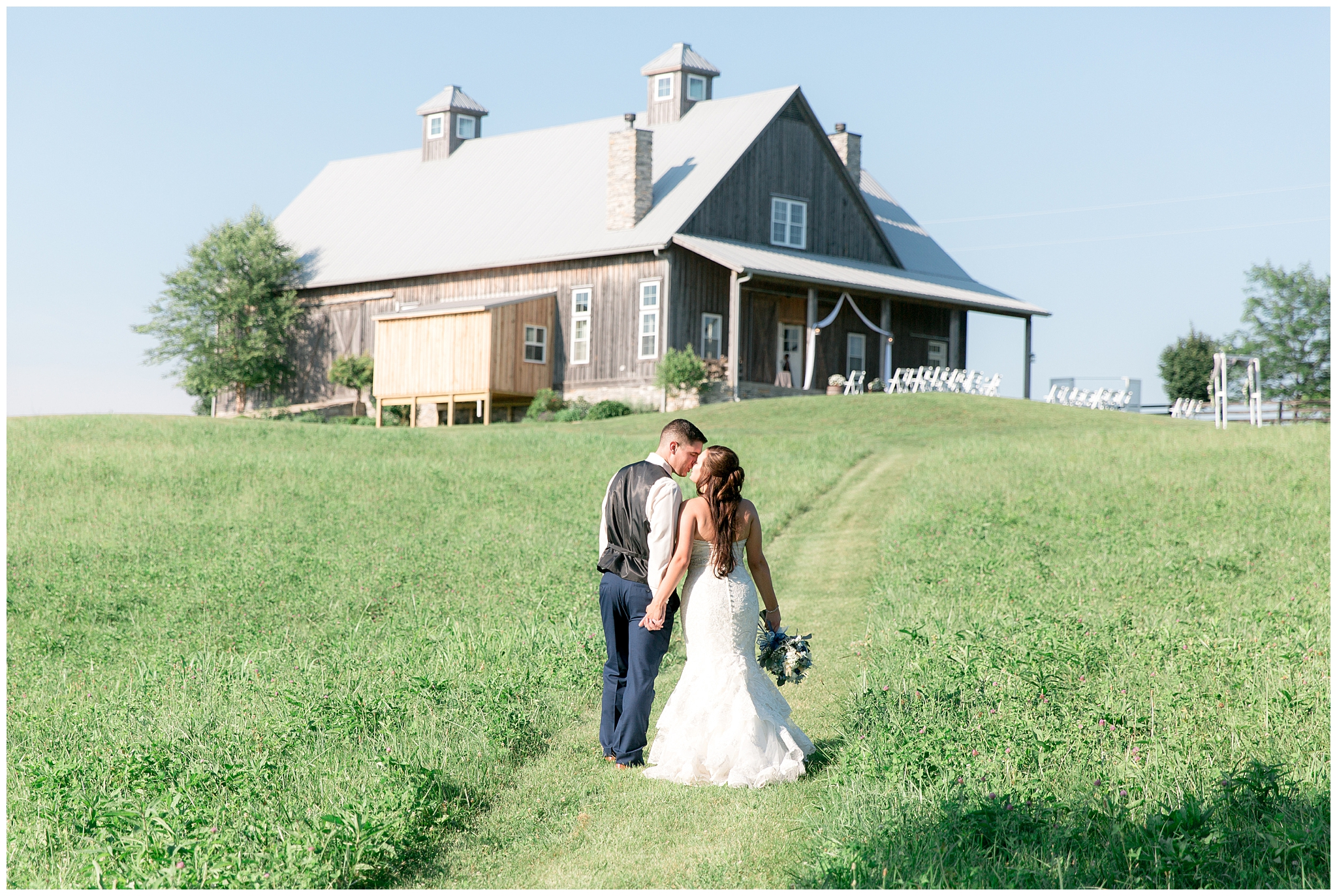 "Long Ridge Farm was the perfect setting for the Nehez wedding last June. Breanne and Mitchell go as far back as high school and their love has only grown with time. From 10th grade English class to their wedding day, these two sweethearts are committed to forever!  Breanne knew she would love Mitchell for the rest of her life the day their son's life began. Seeing him become a dad was so precious to her and their baby boy played a special role on proposal day and wedding day. When Mitchell proposed, he had their son in a onesie that said, ""Mommy will you marry Daddy?"" When it came time after the ""I Dos"" their son walked down the aisle with them into the perfect getaway car.  Breanne took the reins as the planner for her wedding. Her advice for brides trying to do the same is to not stress, that it will all fall into place; and it sure did! From the floral invites, to the customized bridal robes, every detail was stunning on the big day.  The reception wrapped up the Nehez wedding day with a bang! Catering was done by Mark's Feed Store in Louisville and the DJ Buddy Irvin made sure to keep the crowd dancing. After digging in to their flawless cake by Darlene Nold, the couple swayed to the music until this perfect day was over."