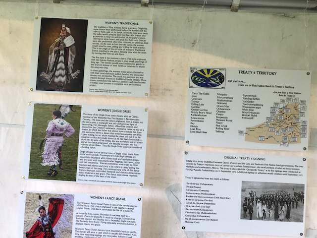 Educational displays on Women's Traditional Dancing and the history of Treaty 4.