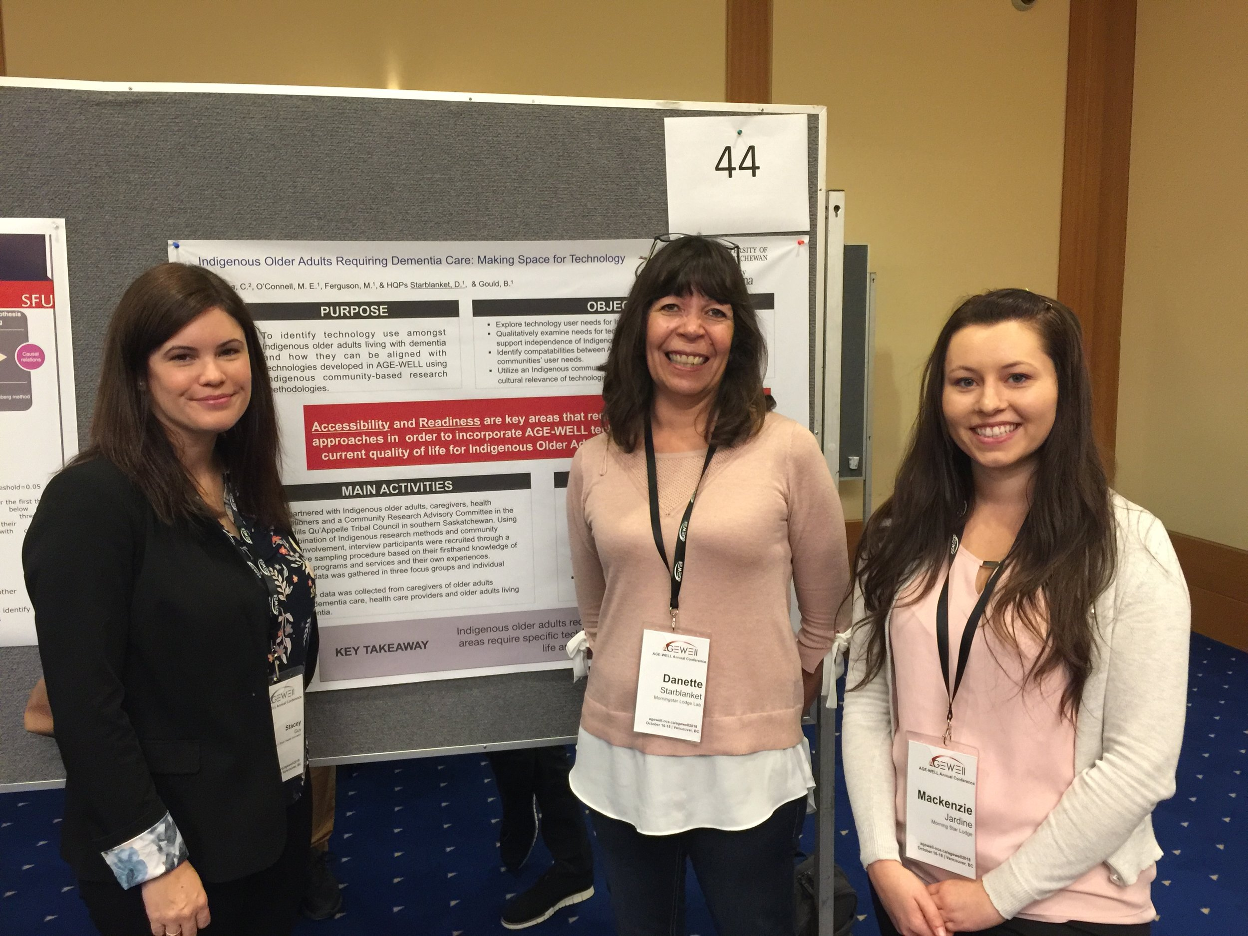 AGE-WELL Poster WITH STACEY GUY, DANETTE STARBLANKET, and MACKENZIE JARDINE (L to R).