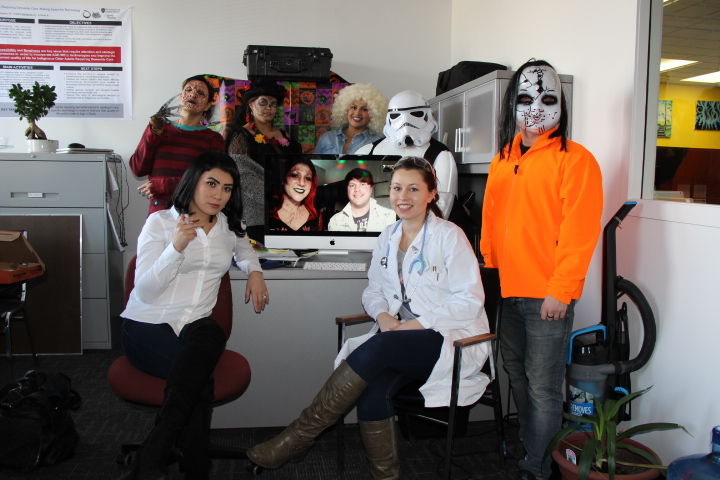 Pictured l to r: Jaqueline anaquod, erin goodpipe, kayla watson-mcnab, dana hickey (on screen), sebastien lefebvre (On Screen), louise bigeagle, nicole akan, marlin legare.