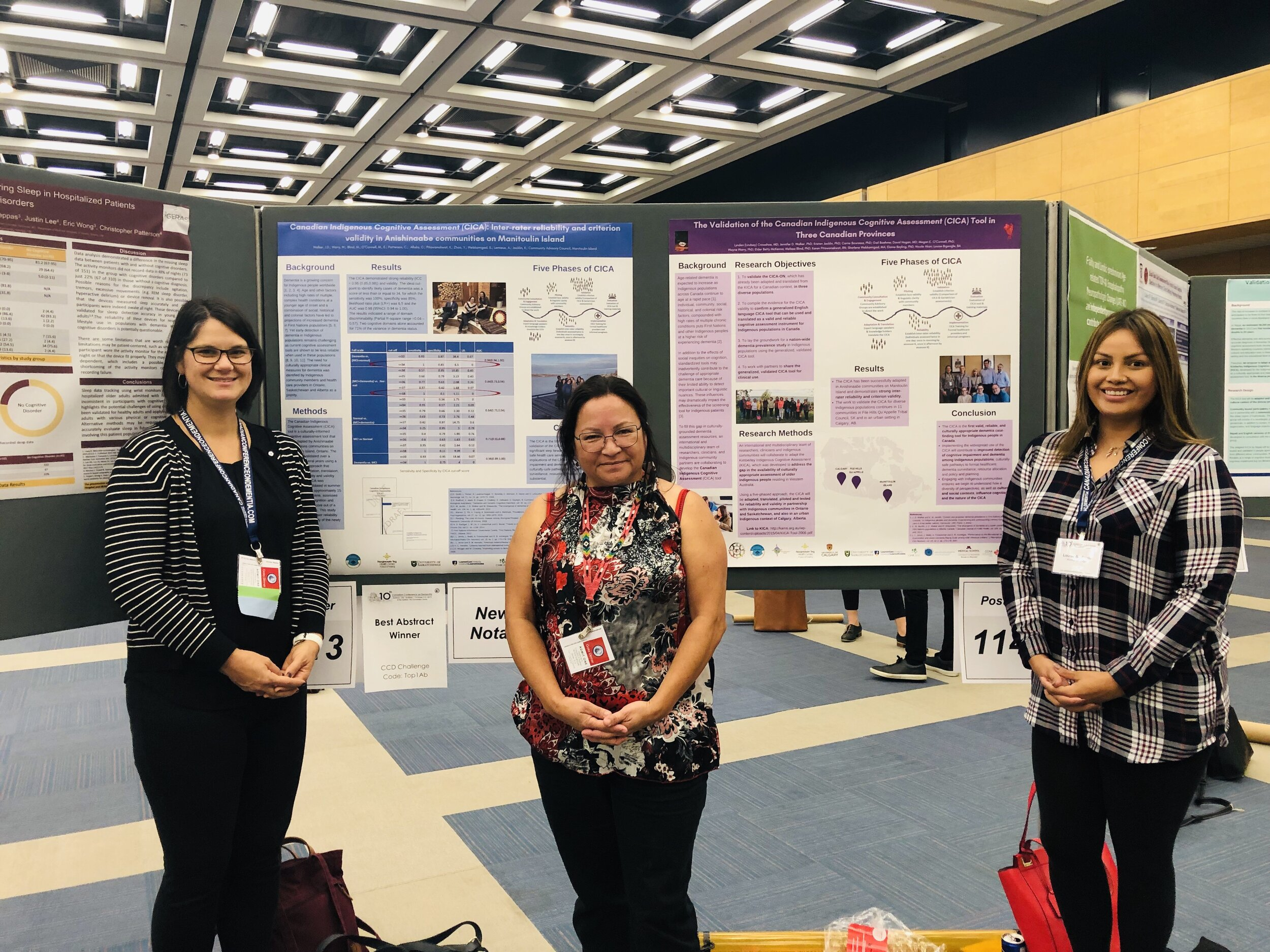 Louise BigEagle providing a poster presentation for the Canadian Indigenous Cognitive Assessment at the 10th Canadian Conference on Dementia.