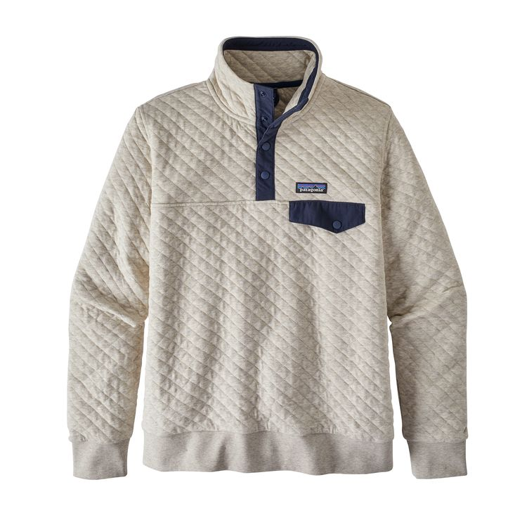 Patagonia sweater $149.00 I have the zip up version and I absolutely love it and get lots of compliments on it. You really can't go wrong with Patagonia. Its a well loved brand and good quality clothes that will last a long time.   https://www.patagonia.com/product/womens-organic-cotton-quilt-snap-t-pullover/25282.html?dwvar_25282_color=KIPI&cgid=collections-favorites-favorites-womens#start=1
