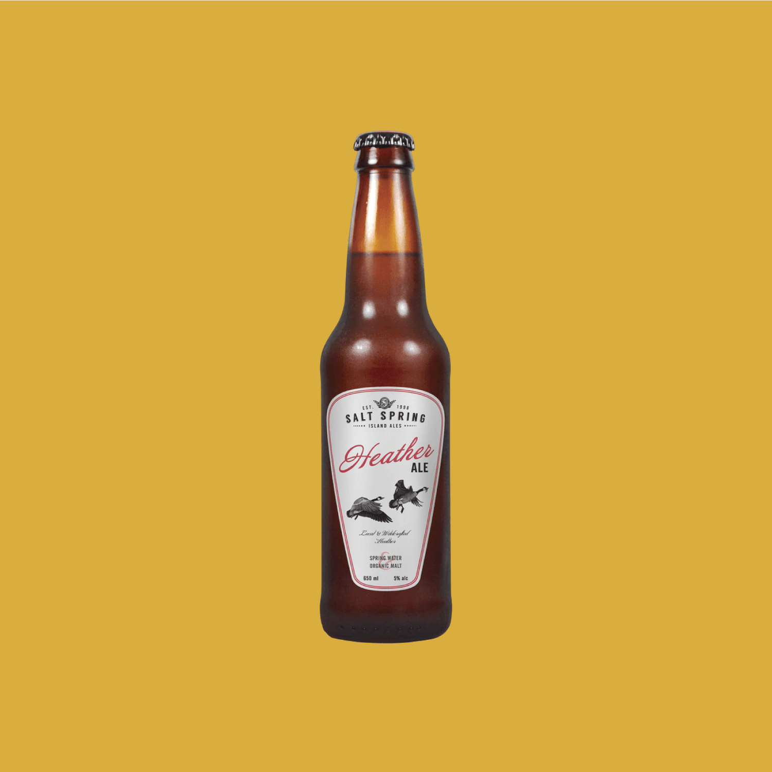 Salt Spring Island Heather Ale - A crisp and lightly hopped ale with floral and honeynotes. Totally crushable for when you're lounging poolside.$6.79, 650 ml