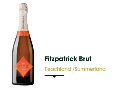 Fitzpatrick Family Vineyards is located at the historic Greata Ranch property, situated between Peachland and Summerland. Fitz Brut is their signature Cuvée. A blend of Pinot Noir, Chardonnay, Meunier, flavours of crisp apple, green pair, lime and a touch of brioche. Great Acidity!   $39.49 - 750 ml