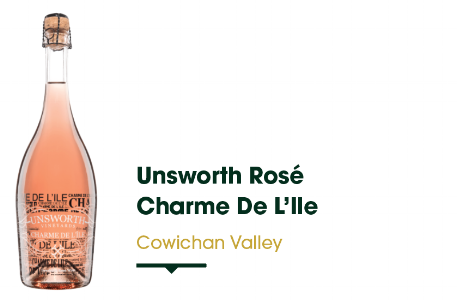Nestled in the Cowichan Valley here on Vancouver Island, this little winery has made quite a name for themselves for producing quality wines with both classic varietals and hybrids. This limited release Charmat-method sparkling wine is made from 100% Cowichan Valley Pinot Noir. It offers festive notes of cranberry, pink grapefruit and ginger with a creamy body. Perfect for Christmas dinner!   $27.99 - 750 ml