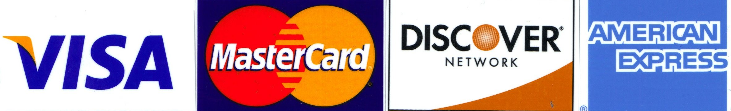 We accept Visa, MasterCard, Discover Network, and American Express