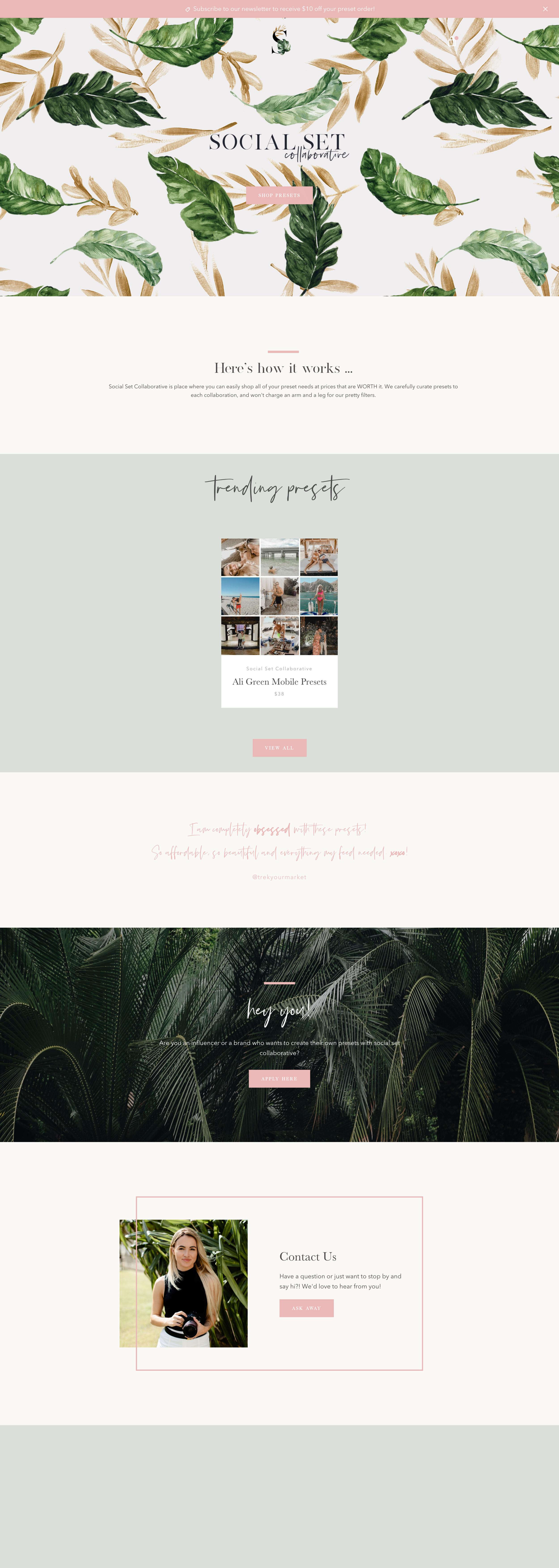 social set co website by trek your market