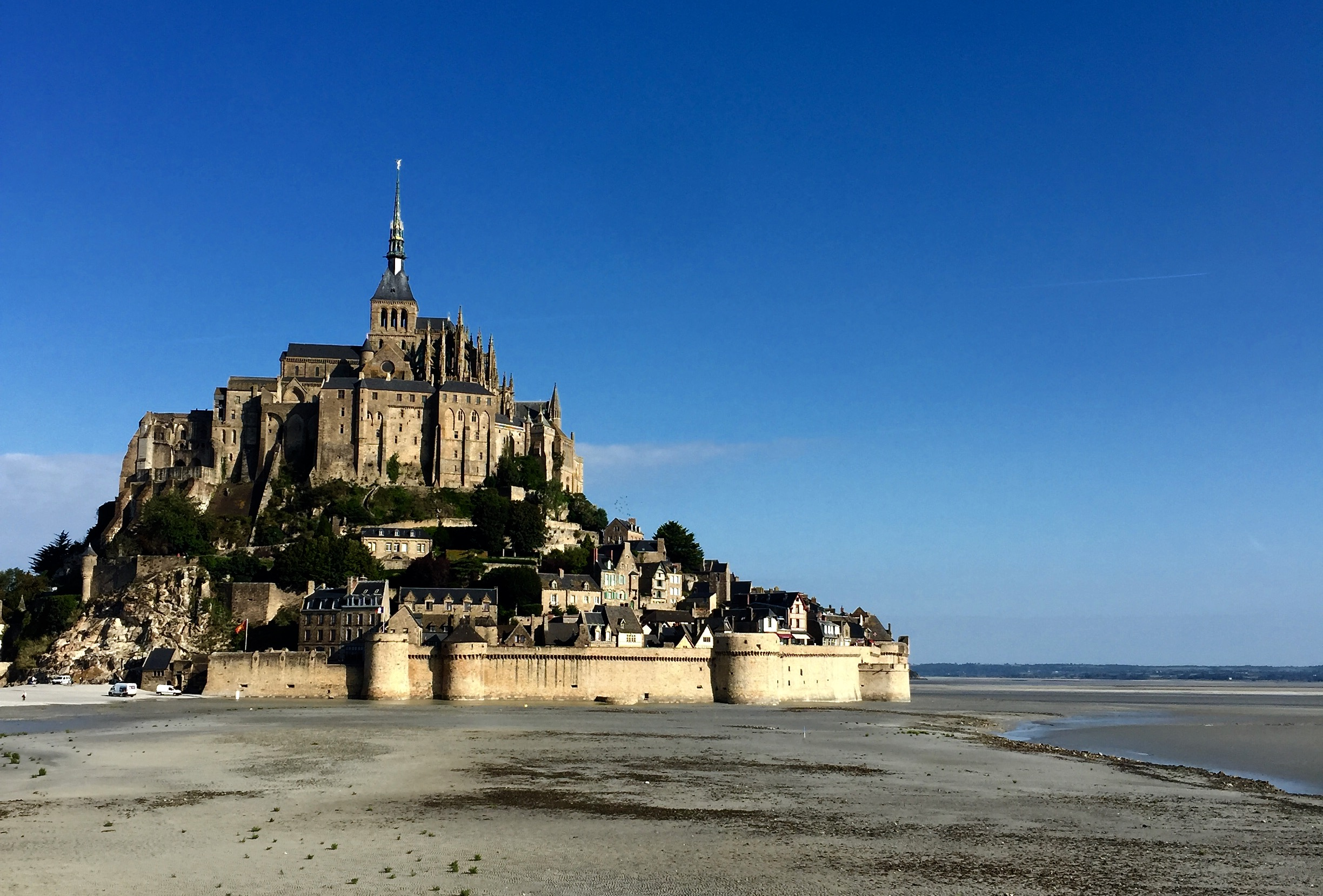 View from the bridge that leads to Mont Saint-Michel.
