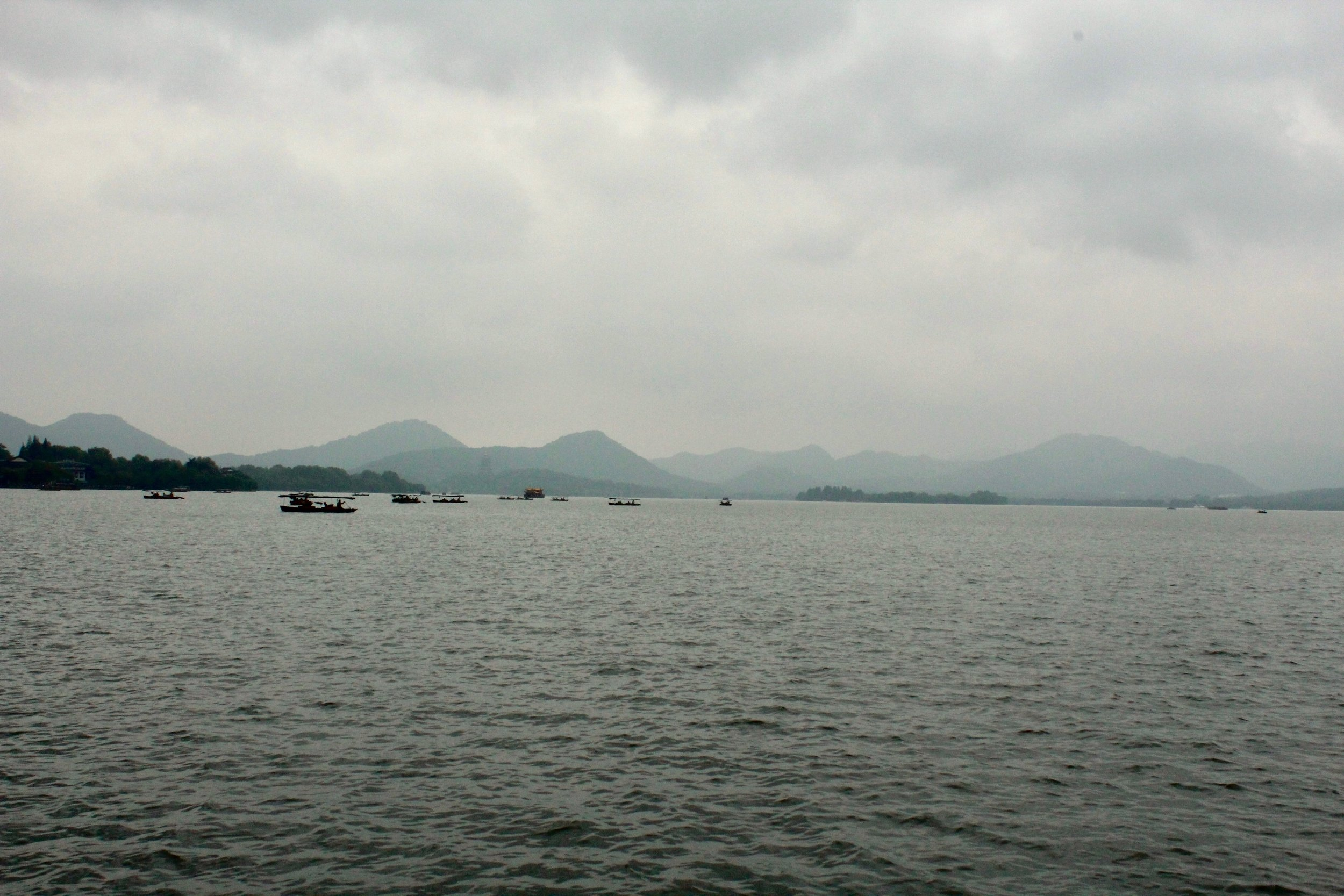 Cloudy day on West Lake, Hangzhou.