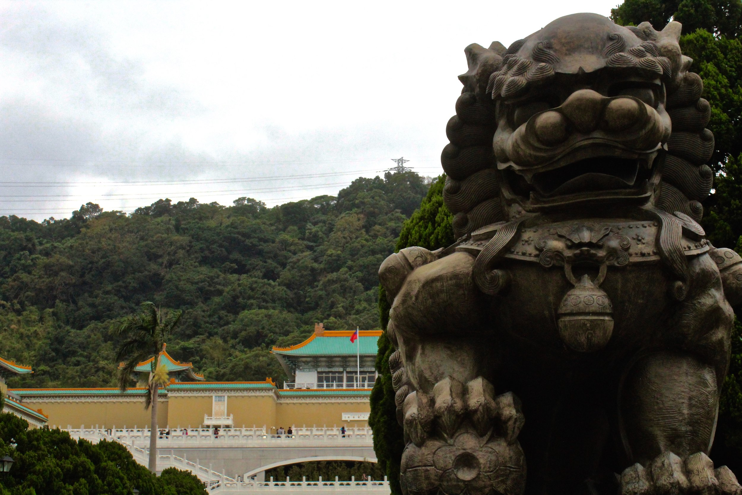 Lion statue in front of the National Palace.