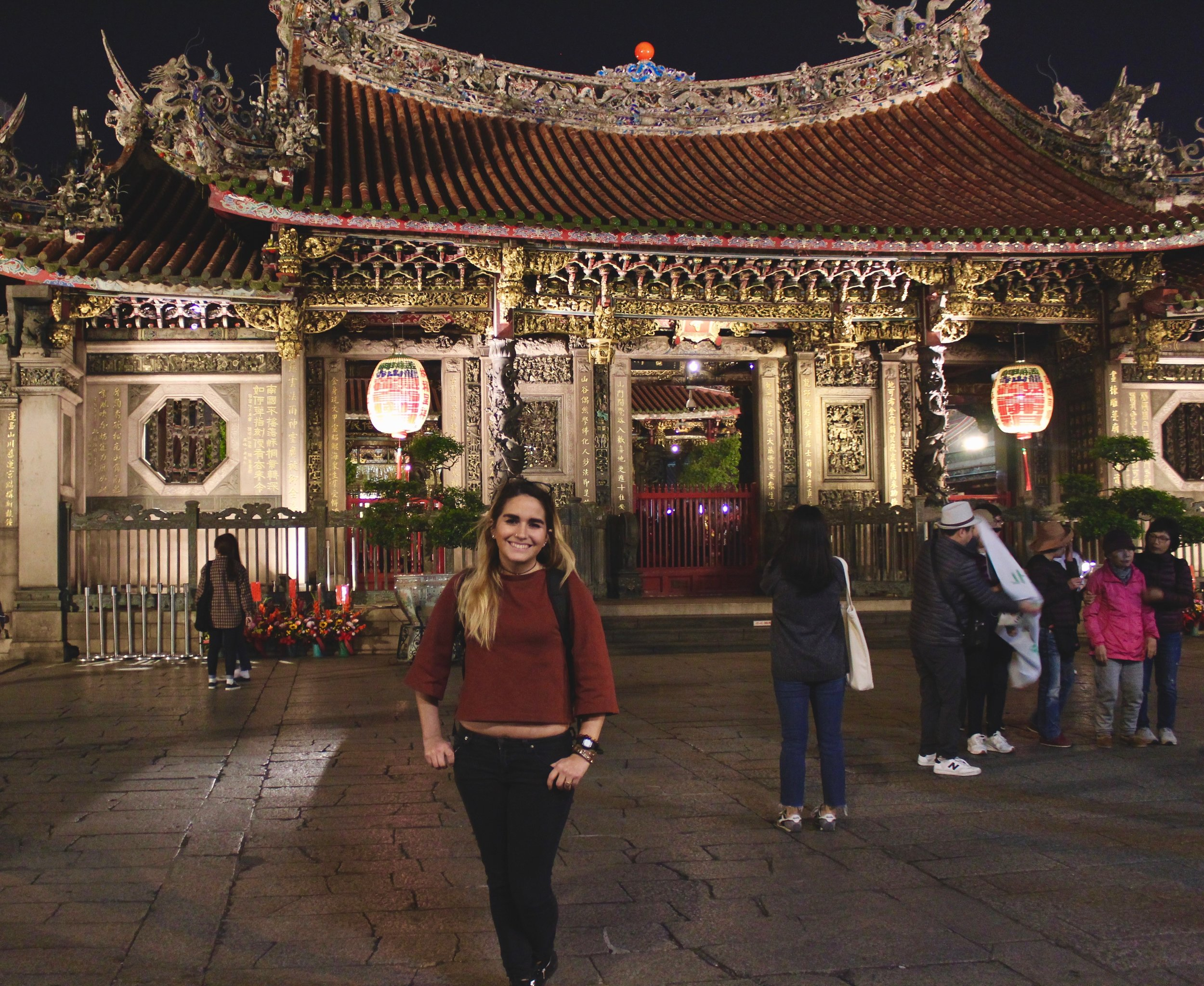 Myself in front of the Longshan Temple entrance.