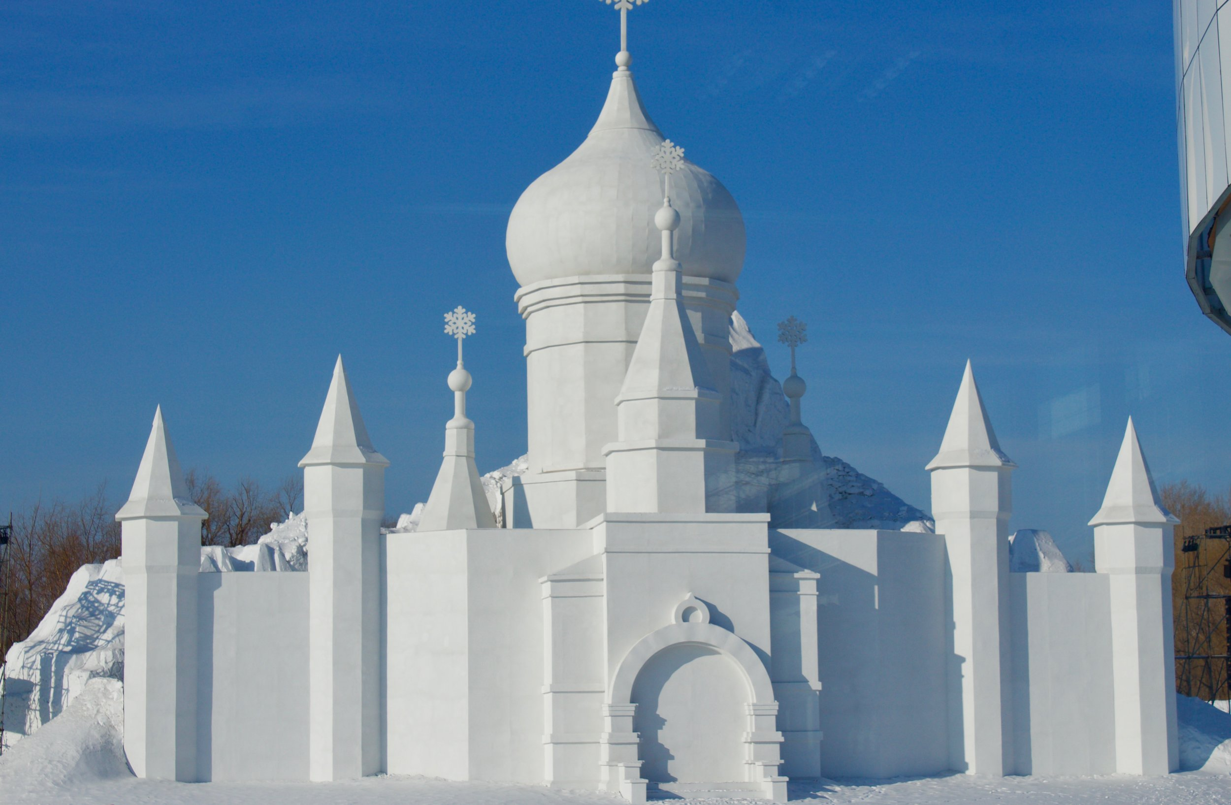 A snow cathedral. The way its made resembles the façade of the Sophia Cathedral.