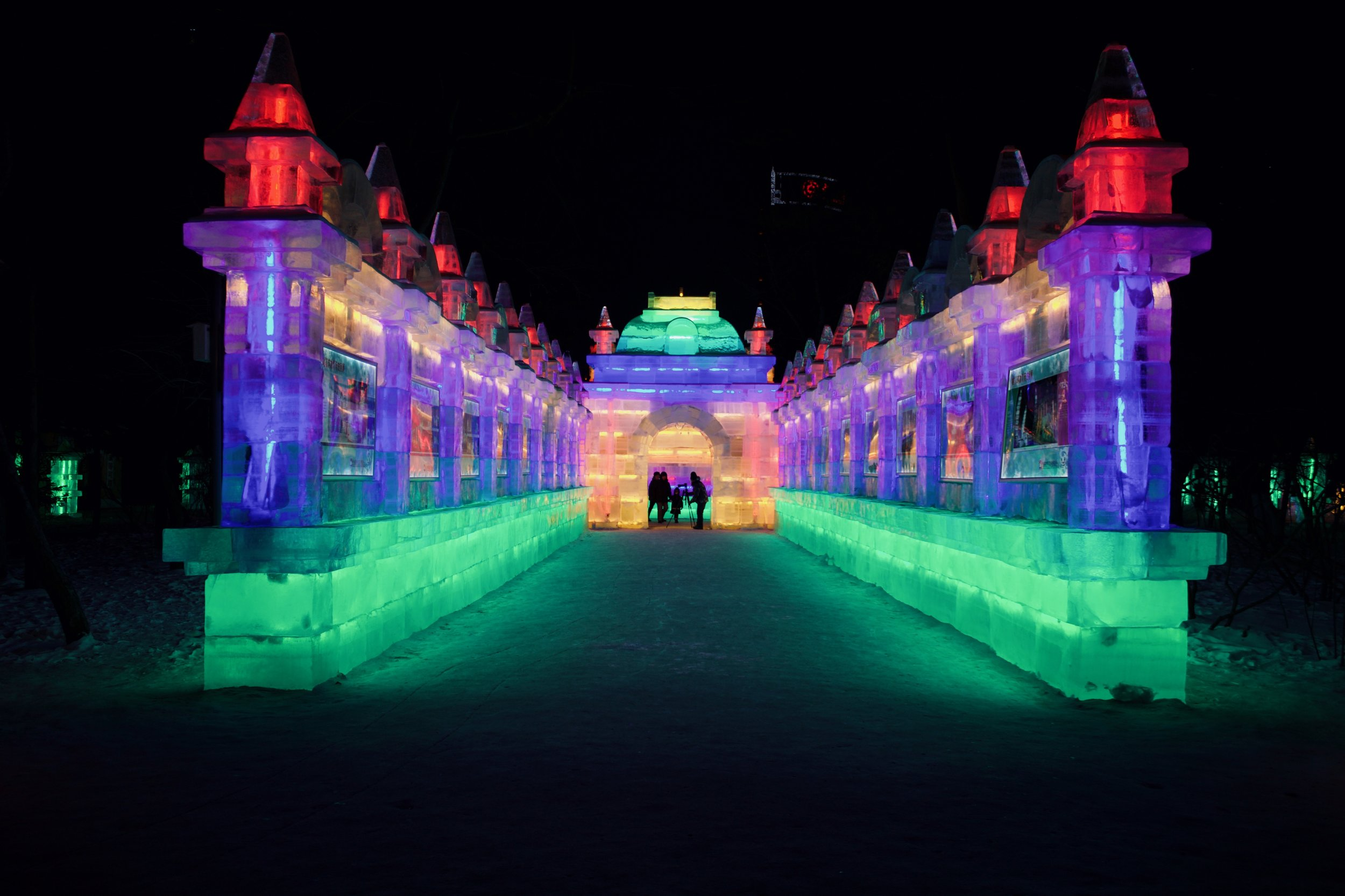 The structures are very similar to those at the Ice and Snow festival but in a smaller scale.