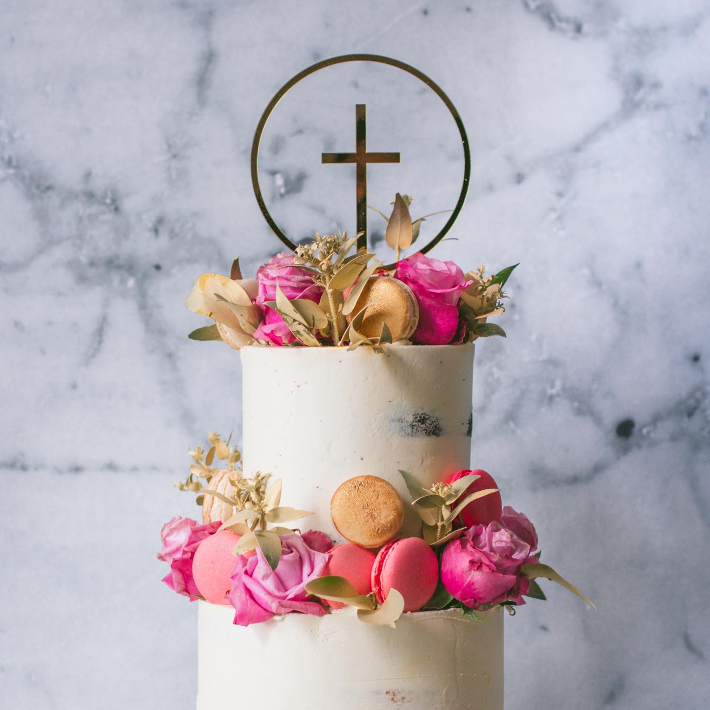 """6"""" + 8"""" Passiontree Velvet Custom Christening Cake"""