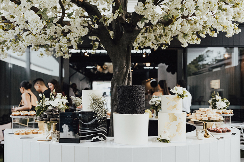 (TOP) Bespoke Wedding Cakes & Dessert Table | Photos by  Lover of Mine  (BOTTOM) Lemon Meringue Mini Tart | Passionfruit Mini Eclairs | Vanilla Walnut Mini Eclairs